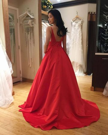 9f04530d8 49%OFF Simple Red A-line Natural Waist Beading Pockets Prom Dresses ...