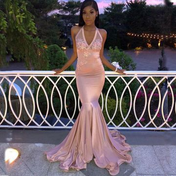 Sexy African Pink Pearl Pink Trumpet/Mermaid Sleeveless Natural Waist Appliques Prom Dresses 2019