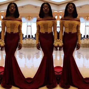 Sexy African Red Burgundy Trumpet/Mermaid Long Sleeves Natural Waist Appliques Prom Dresses 2019