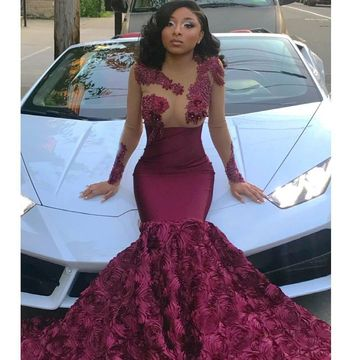 Sexy African Red Burgundy Trumpet/Mermaid Long Sleeves Natural Waist Appliques Prom Dresses 2020