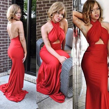 Simple Sexy Petite Red Trumpet/Mermaid Natural Waist Prom Dresses 2019 Sweep/Brush Train Halter