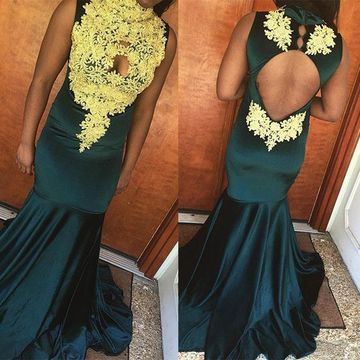 Sexy African Blue Hunter Trumpet/Mermaid Sleeveless Natural Waist Appliques Prom Dresses 2019