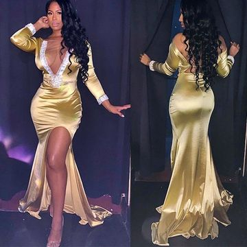 Sexy African Gold Trumpet/Mermaid Long Sleeves Natural Waist Beading Split Prom Dresses 2019
