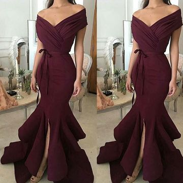 Trumpet/Mermaid Off-the-Shoulder Sleeveless Floor-Length Ruched Satin Dresses