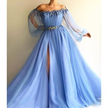A-Line/Princess Long Sleeves Off-the-Shoulder Tulle Beading Floor-Length Dresses