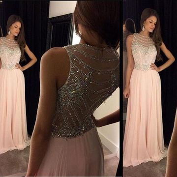A-Line/Princess Round Neck Sleeveless Chiffon Crystal Floor-Length Dresses