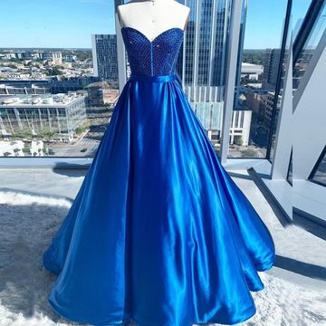 A Line Sweetheart Neck Sleeveless Zipper Royal Blue Ball Gown Prom Dress