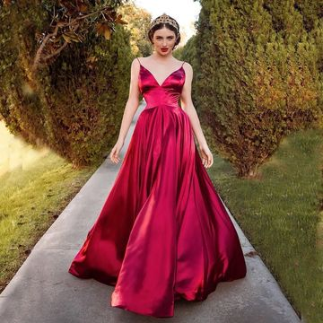 V Neck A Line Floor Length Sleeveless Prom Dress