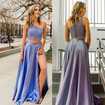 A Line Two Piece Appliques One Shoulder Split Long Prom Dress
