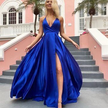 4e6fe272ffb Royal Blue A Line Sleeveless V neck Sweep Brush Train with Split Prom Dress