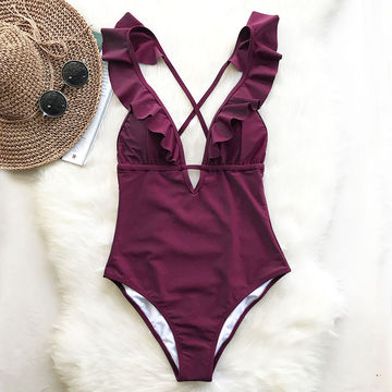 4d1024d591f 49%OFF Cupshe Burgundy Heart Attack Falbala One-piece Swimsuit Women ...