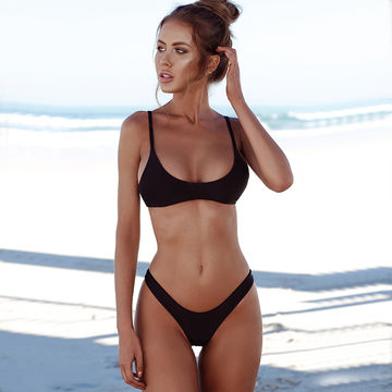 0921abcb71 Kmnovo New Solid Thong Bikini Sexy Swimwear Women Plus Size Swimsuit Halter  Bikini Set Simple Large Bathing Suit Biquini XXL