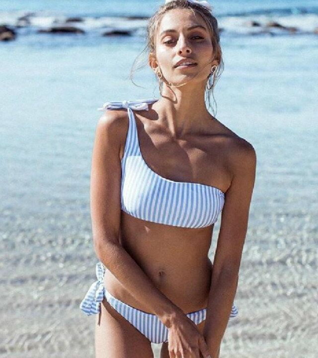 49 Off P Amp J 2018 Sexy One Shoulder Bikini Two Pieces