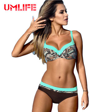 75f4c11f15 49%OFF UMLIFE Sexy Striped Swimwear Women Push Up Bikini Set Retro ...