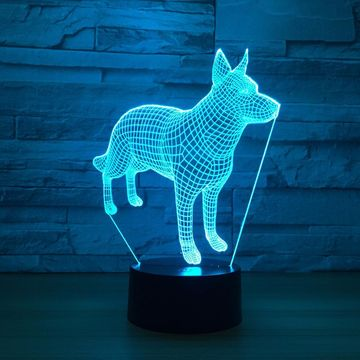 Abstract Dog 3D Optical Illusion Lamp