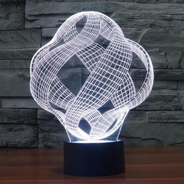 Abstract Crisscrossing Ribbon 3D Optical Illusion Lamp