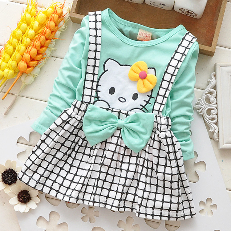 a0d3ccea51a20 NZ$29.39 2019 Spring Summer KT Cat Baby Girl Dress Long Sleeve 1 Year Baby  Birthday Dress Strap Plaid Infant Girl Dresses